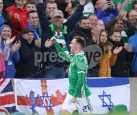 PressEye-Northern Ireland- 11th September  2018-Picture by Brian Little/ PressEye. Northern Ireland Gavin Whyte celebrates scoring his debut goal against  Israel     during  Tuesday\'s  Friendly International Challenge match at the National Football Stadium at Windsor Park.. Picture by Brian Little/PressEye .