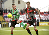 Danske Bank Premiership, Seaview Belfast.. Co Antrim 02/12/17. Crusaders v Glentoran. Mandatory Credit ©INPHO/Stephen Hamilton. Crusaders Declan Caddell  in action with Glentorans Marcus kane.