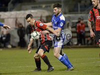 Danske Bank Premiership, The Showgrounds Newry 11/01/2019. Newry vs Crusaders. Newrys Darren King with Crusaders Paul Heatley. Mandatory Credit INPHO/Stephen Hamilton.
