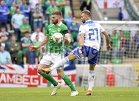 8th August 2018. Northern Ireland v Bosnia & Herzegovina at the national stadium in Belfast.. Northern Ireland\'s Stuart Dallas  in action with  Bosnia & Herzegovina\'s Elvis Saric.  Mandatory Credit: Stephen Hamilton /Presseye