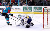 Press Eye - Belfast -  Northern Ireland - 09th February 2018 - Photo by William Cherry/Presseye. Belfast Giants Jonathan Ferland with Fife Flyers Andy Iles during Friday nights Elite Ice Hockey League game at the SSE Arena, Belfast.