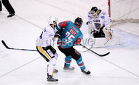 Press Eye - Belfast -  Northern Ireland - 12th January 2018 - Photo by William Cherry/Presseye. Belfast Giants Blair Riley has his shot saved by Nottingham Panthers Patrick Galbraith during Friday nights Elite Ice Hockey League game at the SSE Arena, Belfast.