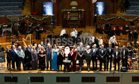 Press Eye - Belfast -  Northern Ireland - 14th December 2015 - Photo by William Cherry. BBC Radio Ulster presenters, staff and guests on stage during BBC Radio Ulster's 40th Birthday Gala which took place in the Ulster Hall on Monday 14 December