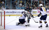 Press Eye - Belfast, Northern Ireland - 04th October 2019 - Photo by William Cherry/Presseye. Belfast Giants\' Liam Reddox with Guildford Flames\' Travis Fullerton during Friday nights EIHL game at the SSE Arena, Belfast.   Photo by William Cherry/Presseye