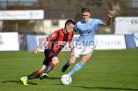 12th October 2019. Danske Bank Irish premiership. Ballymena v Crusaders at Warden Street.. Ballymena\'s  Scot Whiteside in action with Crusaders Paul Heatley. Mandatory Credit -Inpho/Stephen Hamilton.