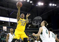 Press Eye - Belfast -  Northern Ireland - 02nd December 2017 - Photo by William Cherry/Presseye. Manhattan College\'s Zane Waterman with Towson College\'s Eddie Keith during Saturday evenings Championship game of the Basketball Hall of Fame Belfast Classic at the SSE Arena, Belfast.  Photo by William Cherry/Presseye