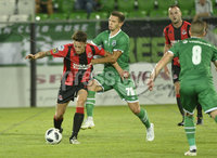 Wednesday 11th July 2018. UEFA Champions League First Qualifying Round First Leg between PFC Ludogorets Razgrad and Crusaders FC .. Ludogorets Jakub Swierczok  in action with Crusaders Jordan Forsythe . Mandatory Credit: Inpho/Stephen Hamilton