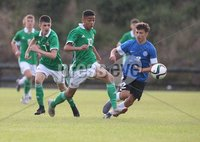 PressEye-Northern Ireland- 19th August  2019-Picture by Brian Little/PressEye. Northern Ireland U16  Brodie Spencer   and Estonia U16 Hugo Palutaja   during Monday evening\'s challenge match at Breda Park (Knockbreda FC).. Picture by Brian Little/PressEye .