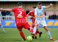 Danske Bank Premiership, Milltown Playing Fields, Newry 2/12/2017 . Warrenpoint Town vs Cliftonville. Cliftonville\'s Stephen Garrett and Jamie McGovern of Warrenpoint. Mandatory Credit ©INPHO/Philip Magowan