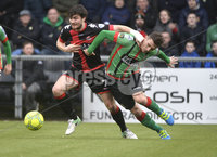 Danske Bank Premiership, Seaview Belfast.. 10/02/2018.  Crusaders v Glentoran. Crusaders Philip Lowry  in action with Glentorans Marcus kane . Mandatory Credit ©INPHO/Stephen Hamilton.