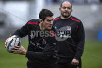 ©Russell Pritchard 27th November 2014 . Ulster Captains Run at Kingspan Stadium, Ravenhill, Belfast before their Guinness Pro12 Game against Munster at Thomond Park Stadium, Limerick.. Ulsters Robbie Diack and Rory Best. ©Russell Pritchard / Presseye.