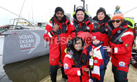 Press Eye - Belfast -  Northern Ireland - 06th March 2016 - Photo by William Cherry. Seven year old Cadhan Crawford from Ballycastle presents the BT Message In A Bottle to Angellica Bell, Hal Cruttenden, Doon Mackichan, Ore Oduba and Suzi Perry who will be swapping the comforts of the stage and studio for five days of nautical torture as they attempt to sail around the UK on the BT Sport Relief Challenge: Hell on High Seas. The One Show presenter Alex Jones was joined by her fellow celebrities in a mammoth challenge which will see them battle fearsome winds freezing temperatures and rough seas in a feat of pure physical mental and emotional endurance. The challenge is sponsored by BT a long-term supporter of Sport Relief challenges since 2009. Setting off from Belfast Harbour Marina on Monday 7th March the crew will attempt to sail to London around the north coast of the mainland in just 5 days finishing on Friday 11th March.