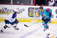Press Eye - Belfast -  Northern Ireland - 09th August 2017 - Belfast Giants Matt Towe with Guilford Flames Calle Ackered during Saturday nights Elite Ice Hockey League game at the SSE Arena, Belfast.  Photo by Presseye