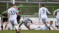 29/02/20. Sadlers Peaky Blinders Irish Cup Quarter final between Glentoran  and Crusaders at the Oval Belfast. Crusaders Gerard Doherty makes a save on the line . Mandatory Credit - Inpho/Stephen Hamilton.