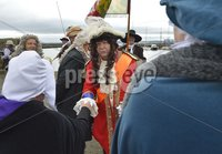 ©Russell Pritchard / Presseye  - 9th June 2012. Carrickfergus Pageant is one of the most colourful events on the. Northern. Ireland calendar, attracting thousands of spectators.. Carrickfergus is rich in the history of the period, with its. magnificent. castle overlooking the harbour where King William landed in 1690. A. statue. in his memory stands in the shadow of the castle.. The re-enactors, dressed in period costume, leave  Townhall and parade to the Castle.. King William, accompanied by dragoons and soldiers, will leave the. harbour and walk through the town to Marine Gardens. ©Russell Pritchard / Presseye