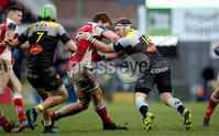 European Rugby Champions Cup Round 5, Kingspan Stadium, Belfast 13/1/2018. Ulster vs La Rochelle. Ulster\'s Iain Henderson and Jean-Charles Orioli of La Rochelle. Mandatory Credit ©INPHO/Ryan Byrne