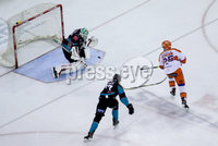 Press Eye - Belfast -  Northern Ireland - 06th January 2019 - Photo by William Cherry/Presseye. Belfast Giants\' Josh Roach with Sheffield Steelers\' Mark Matheson during Sunday afternoons Elite Ice Hockey League game at the SSE Arena, Belfast.    Photo by William Cherry/Presseye