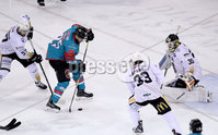 Press Eye - Belfast -  Northern Ireland - 12th January 2018 - Photo by William Cherry/Presseye. Belfast Giants Blair Riley with Nottingham Panthers Patrick Galbraith during Friday nights Elite Ice Hockey League game at the SSE Arena, Belfast.