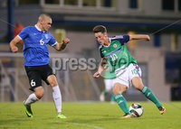 PressEye - Belfast - Northern Ireland - 10th October 2017. Euro 2019 Qualifier. Northern Ireland U21 vs Estonia U21. Pictured: Northern Ireland\'s Jordan Thompson and Estonia\'s German Slein.. Picture: PressEye / Philip Magowan