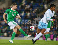 Press Eye Belfast - Northern Ireland 11th September 2018. International Challenge match at the National Stadium at Windsor Park in Belfast.  Northern Ireland Vs Israel. . Northern Ireland\'s George Saville with Israel\'s Dor Peretz. Picture by Jonathan Porter/PressEye.com