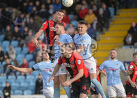 12th October 2019. Danske Bank Irish premiership. Ballymena v Crusaders at Warden Street.. Ballymena\'s Leroy Millar  in action with Crusaders Colin Coates. Mandatory Credit -Inpho/Stephen Hamilton.