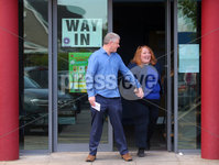 Press Eye - Belfast - Northern Ireland - 23rd May 2019 - . Polling stations open across Northern Ireland for the European Election.  Northern Ireland can return three candidates tot he European Parliament. . Alliance Party leader and EU candidate Naomi Long, and her husband Michael,  pictured voting at St. Colmcilles polling station on the Newtownards Road in east Belfast. . . Photo by Jonathan Porter / Press Eye.