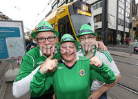 Press Eye - Belfast -  Northern Ireland - 11th November 2017 - Photo by William Cherry/Presseye. Northern Ireland fans Brian White, Selena Sayers and Alan Sayers in Basel ahead of Sunday nights World Cup Play Off against Switzerland at at St. Jakob-Park, Basel.
