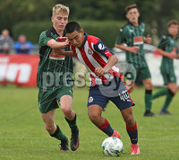 Press Eye - Belfast - Northern Ireland -24/08/2017. Picture by Dessie Loughery. SuperCupNI Junior Section . Chivas Guadalajara Vs Plymouth Argyle during Tuesday\'s SuperCup NI Junior Section match at Parker Avenue Portrush. Chivas Guadalajara Joseph Darian in action