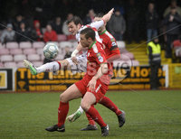Danske Bank Premiership, Solitude Belfast, Co Antrim 10/03/2018. Cliftonville  vs Crusaders . Cliftonville\'s Jamie McGovern in action with Crusaders Philip Lowry. Mandatory Credit ©INPHO/Stephen Hamilton.