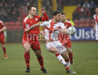 Danske Bank Premiership, Solitude Belfast, Co Antrim 10/03/2018. Cliftonville  vs Crusaders . Cliftonville\'s Jamuie Harney  in action with Crusaders Declan Caddell. Mandatory Credit ©INPHO/Stephen Hamilton.