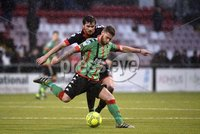 Danske Bank Premiership, Seaview Belfast.. 10/02/2018.  Crusaders v Glentoran. Crusaders Philip Lowry in action with Glentorans James Knowles. Mandatory Credit ©INPHO/Stephen Hamilton.