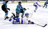 Press Eye - Belfast, Northern Ireland - 06th March 2020 - Photo by William Cherry/Presseye. Belfast Giants\' Brian Ward with Fife Flyers\' James Isaacs during Friday nights Elite Ice Hockey League game at the SSE Arena, Belfast.   Photo by William Cherry/Presseye