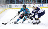Press Eye - Belfast, Northern Ireland - 29th February 2020 - Photo by William Cherry/Presseye. Belfast Giants\' Ben Lake with Guildford Flames\' Corbin Baldwin during Saturday nights Elite Ice Hockey League game at the SSE Arena, Belfast.    Photo by William Cherry/Presseye