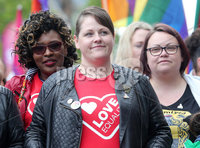Press Eye - Belfast - Northern Ireland - 18th May 2019. Same sec marriage campaigners for Northern Ireland hold a march and rally in Belfast City Centre from Writers Square to the City Hall. The rally was addressed by the Sara Canning(pictured) partner of Lyra McKee who was murdered after being shot dead by dissident republican in Derry last month.. Picture by Jonathan Porter/PressEye
