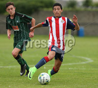 Press Eye - Belfast - Northern Ireland -24/08/2017. Picture by Dessie Loughery. SuperCupNI Junior Section . Chivas Guadalajara Vs Plymouth Argyle during Tuesday\'s SuperCup NI Junior Section match at Parker Avenue Portrush. Chivas Guadalajara Carlos Arce controlling play