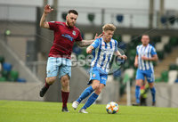 Press Eye-Belfast-Northern Ireland -27th July 2020. Sadlers\'s Peaky  Blinder Irish Cup Semi Final, National Stadium at Windsor Park, Belfast. . 27/7/2020. Ballymena United FC v Coleraine FC. Ballymena United\'s Cathair Friel   and Lydon Kane  of Coleraine.. Mandatory Credit  Brian Little/PressEye