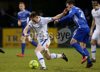 Danske Bank Premiership, Stangmore Park, Dungannon, Co. Tyrone 13/1/2018. Dungannon Swifts vs Coleraine. Dungannon\'s Grant Hutchinson with Stephen. O\'Donnell of Coleraine. Mandatory Credit ©INPHO/Matt Mackey