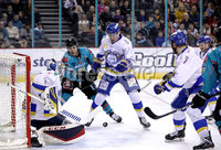 Press Eye - Belfast, Northern Ireland - 06th March 2020 - Photo by William Cherry/Presseye. Belfast Giants\' Liam Morgan with Fife Flyers\' Adam Morrison during Friday nights Elite Ice Hockey League game at the SSE Arena, Belfast.   Photo by William Cherry/Presseye