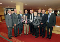 Press Eye - Belfast - Northern Ireland - Saturday 28th April 2012 -  Picture by Kelvin Boyes / Press Eye.. Linfield veterans from 1961-62 at the Ramada Hotel Belfast.. Pictured with journalist Malcolm Brodyie left to right are: Ken Gilliland, Jim Reid, Isaac Andrews, Bobby Braithwaite, Hubert Barr, Bobby Irvine, Billy Wilson and Ray Gough..