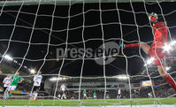 PressEye-Northern Ireland- 9th September  2019-Picture by Brian Little/PressEye. Germany goal keeper Manuel Neuer catches the ball on the line against Northern Ireland  during Monday\'s  European Championship Qualifying Group C match  at the National  Football Stadium at Windsor Park,Belfast.. Picture by Brian Little/PressEye .