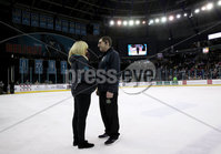 Press Eye - Belfast, Northern Ireland - 29th February 2020 - Photo by William Cherry/Presseye. Belfast Giants\' had a proposal tonight. Karen asked Michael to marry her, and he said yes! During Saturday nights Elite Ice Hockey League game against Guildford Flames at the SSE Arena, Belfast.    Photo by William Cherry/Presseye