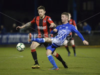 Danske Bank Premiership, The Showgrounds Newry 11/01/2019. Newry vs Crusaders. Newrys James Walker with Crusaders Jordan Forsythe. Mandatory Credit INPHO/Stephen Hamilton.