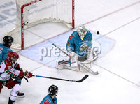 Press Eye - Belfast, Northern Ireland - 01st February 2020 - Photo by William Cherry/Presseye. Belfast Giants\' Shane Owen with Cardiff Devils\' Joey Martin during Sunday afternoons Elite Ice Hockey League game at the SSE Arena, Belfast.   Photo by William Cherry/Presseye