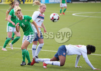Press Eye - Belfast - Northern Ireland - 8th October 2019. European Women\'s U19 Championship 2020 Qualifying Round -  Northern Ireland Vs Norway, Seaview. Northern Ireland\'s Kelsie Burrows with Norway\'s Madeleine Hille Mellemstrand. Picture by Jonathan Porter/PressEye
