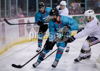 Press Eye - Belfast -  Northern Ireland - 24th August 2019 - Photo by William Cherry/Presseye . Belfast Giants\' Ciaran Long and Liam Morgan during Saturday nights Exhibition Game against Herning Blue Fox at the SSE Arena, Belfast.    Photo by William Cherry/Presseye
