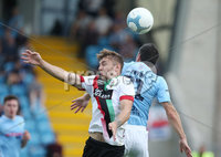 Danske Bank Premiership, Showgrounds, Ballymena  24/8/2019. Ballymena United  vs Glentoran FC . Ballymena United\'s Jim Ervin and Robbie McDaid  of Glentoran .. Mandatory Credit  INPHO/Brian Little