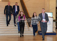Press Eye Belfast - Northern Ireland 4th December 2017. Sinn Féin\'s National Chairperson Declan Kearney MLA with some of his party colleagues pictured at Parliament Buildings, Stormont, where he launched the party\'s 'No return to the Status Quo' document. . Picture by Jonathan Porter/PressEye.com