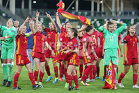 Press Eye Belfast - Northern Ireland 8th August 2017. 2017 UEFA Women\'s Under-19 Championship Final at the National Stadium at Windsor Park, Belfast.  France Vs Spain. Spain celebrate after winning the final 2-3. Picture by Jonathan Porter/PressEye.com.