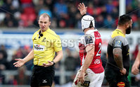 European Rugby Champions Cup Round 5, Kingspan Stadium, Belfast 13/1/2018. Ulster vs La Rochelle. Ulster\'s Rory Best with Referee Wayne Barnes . Mandatory Credit ©INPHO/Ryan Byrne