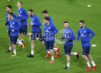Press Eye - Belfast -  Northern Ireland - 11th November 2017 - Photo by William Cherry/Presseye. Northern Ireland\'s Corry Evans and Daniel Lafferty during Saturday nights training session at St. Jakob-Park ahead of Sunday nights World Cup Play Off against Switzerland in Basel.